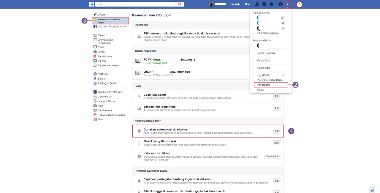 Facebook Autentikasi 2 Faktor