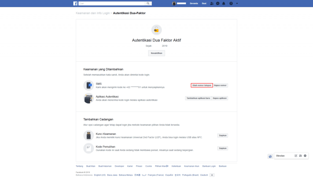 Facebook Autentikasi 2 Faktor Anda Telah Aktif